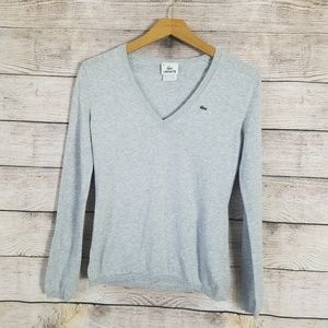 Lacoste V Neck Cotton Gray Sweater Size 36 (4)